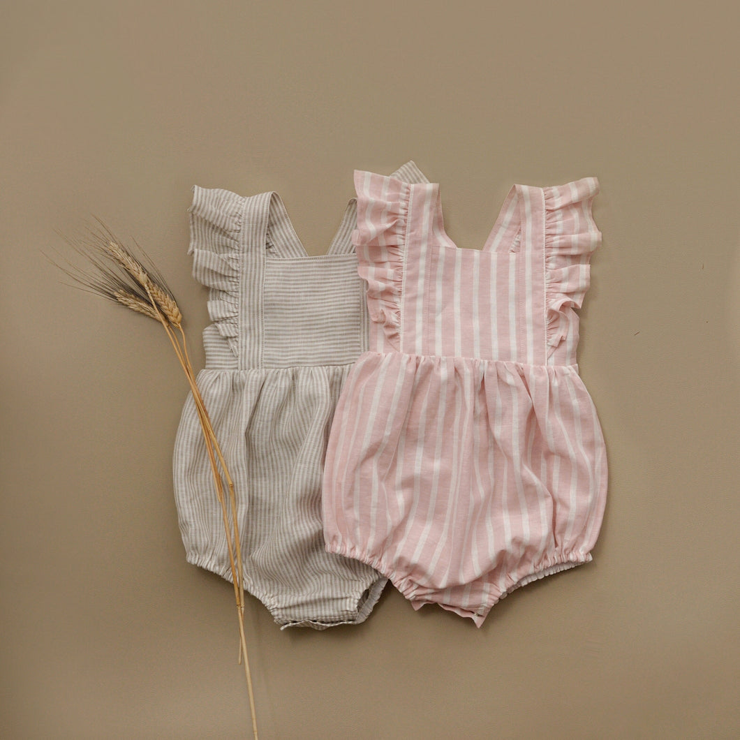 Zaylee Ruffle Rompers Peach/white Stripes RTS