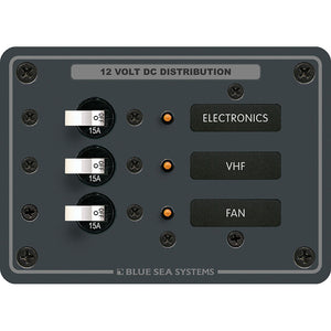 Blue Sea 8025 DC 3 Position Breaker Panel - White Switches [8025]
