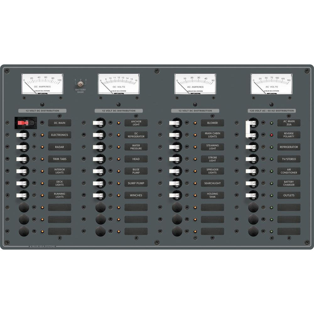 Blue Sea 8095 AC Main +8 Positions / DC Main +29 Positions Toggle Circuit Breaker Panel   (White Switches) [8095]