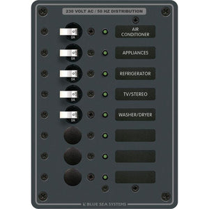 Blue Sea 8159 AC 8 Position 230v (European) Breaker Panel (White Switches) [8159]