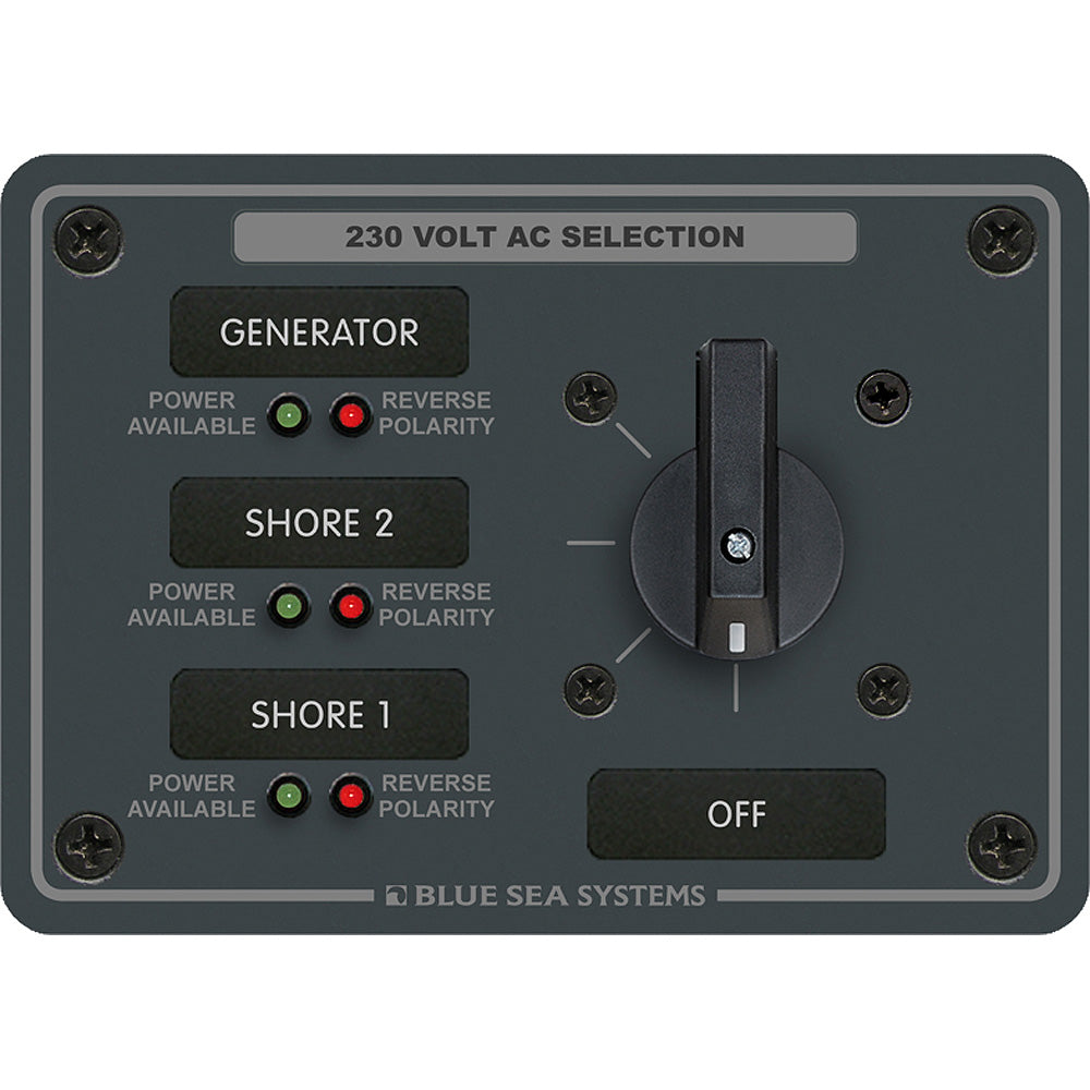 Blue Sea 8358 AC Rotary Switch Panel 30 Ampere 3 Positions + OFF, 2 Pole [8358]