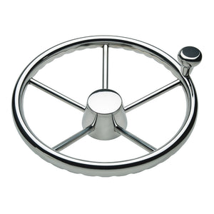 "Schmitt  Ongaro 170 13.5"" Stainless 5-Spoke Destroyer Wheel w/ Stainless Cap and FingerGrip Rim - Fits 3/4"" Tapered Shaft Helm [1731321FGK]"