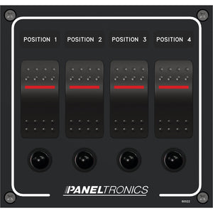 Paneltronics Waterproof Panel - DC 4-Position Illuminated Rocker Switch & Circuit Breaker [9960022B]