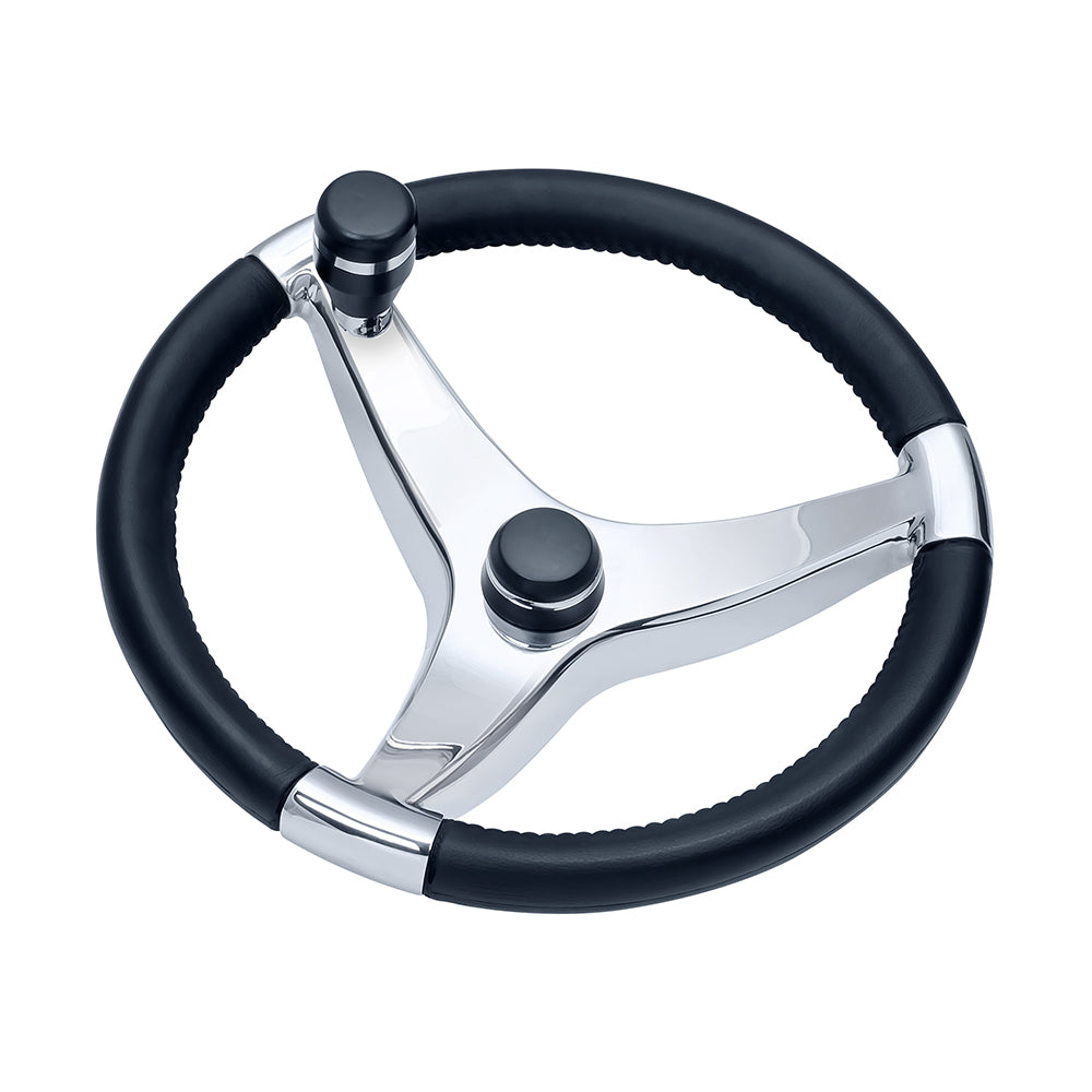 Ongaro Evo Pro 316 Cast Stainless Steel Steering Wheel w-Control Knob - 15.5