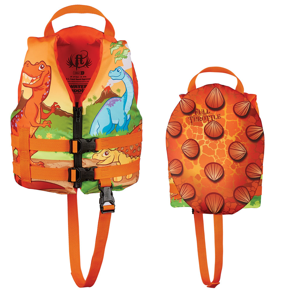 Full Throttle Water Buddies Life Vest - Child 30-50lbs - Dinosaurs [104300-200-001-15]
