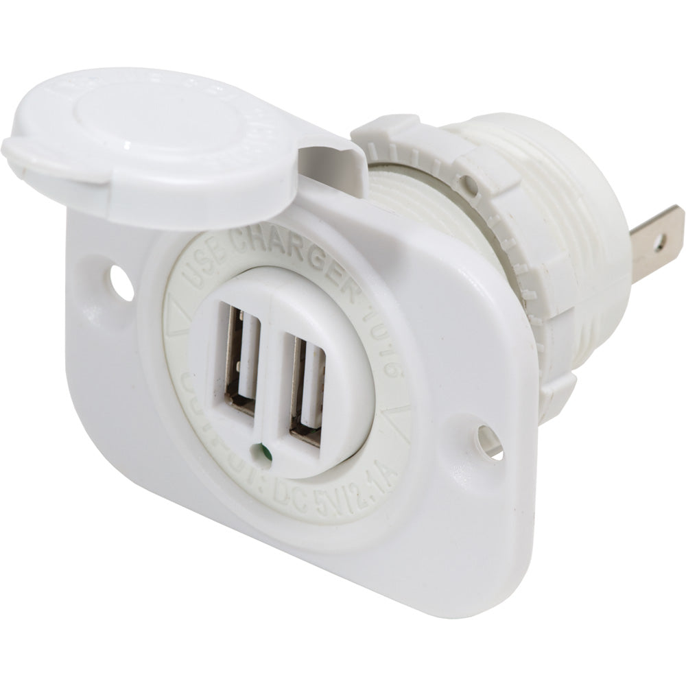 Blue Sea 12V DC Dual USB Charger Socket - White [1016200]