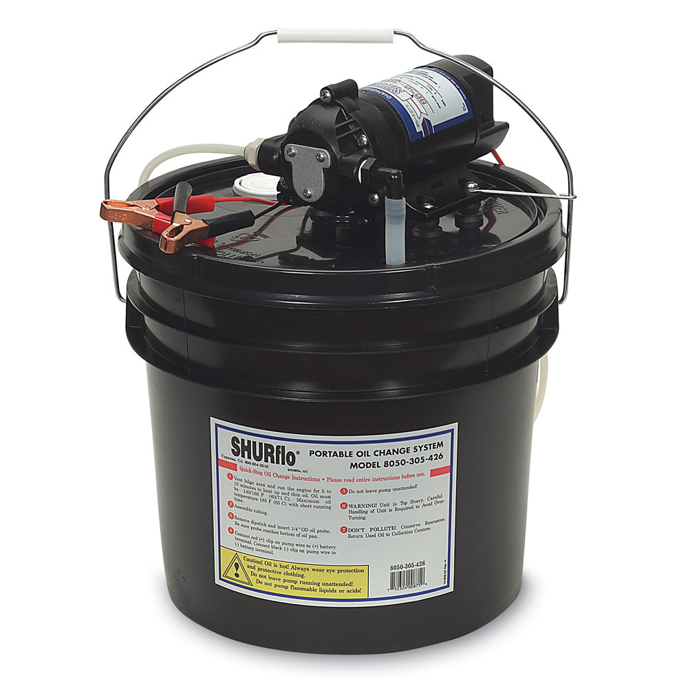 Shurflo by Pentair Oil Change Pump w-3.5 Gallon Bucket - 12 VDC, 1.5 GPM [8050-305-426]