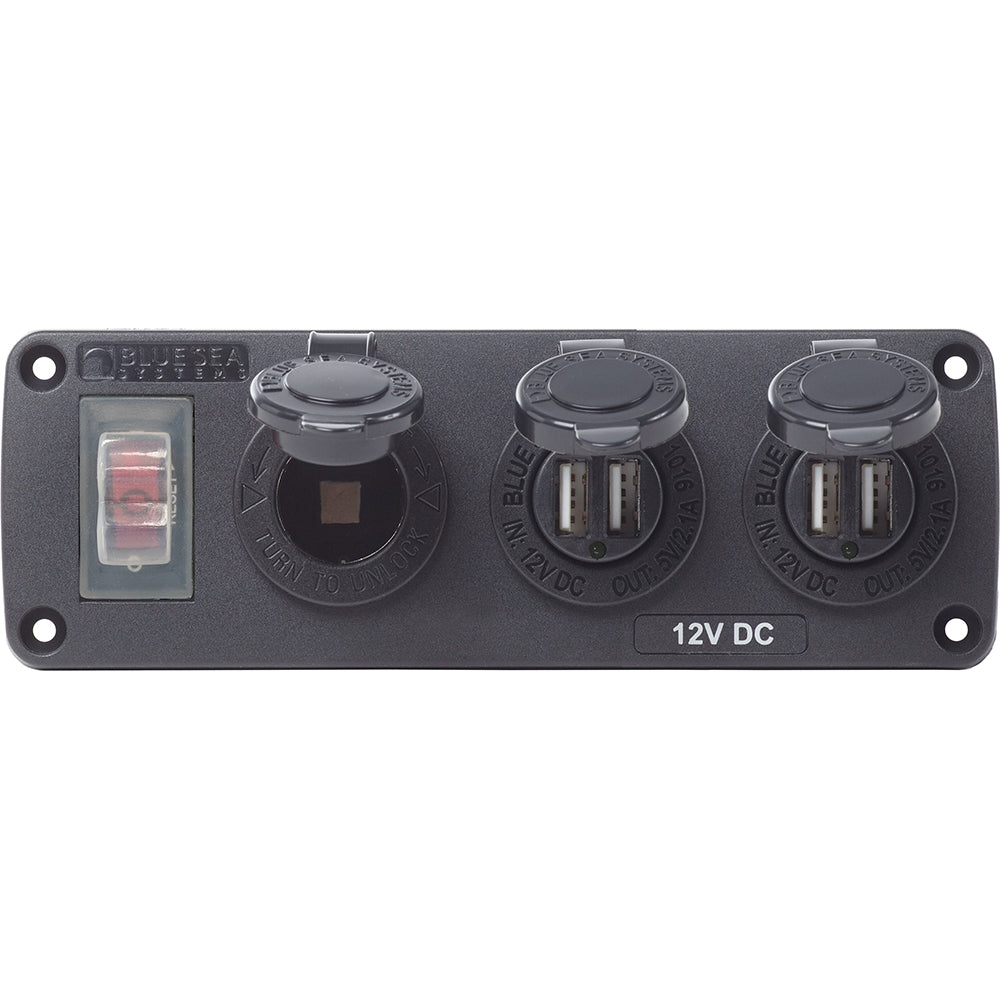 Blue Sea 4365 Water Resistant USB Accessory Panel - 15A Circuit Breaker, 12V Socket, 2x 2.1A Dual USB Chargers [4365]