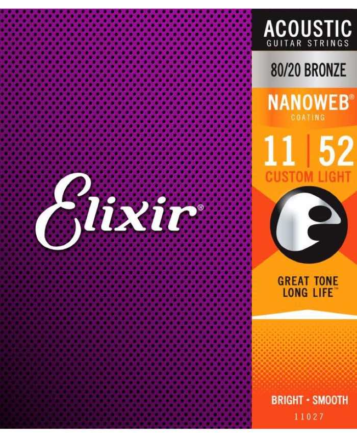 Elixir Acoustic Strings Nanoweb 80/20 Custom Light
