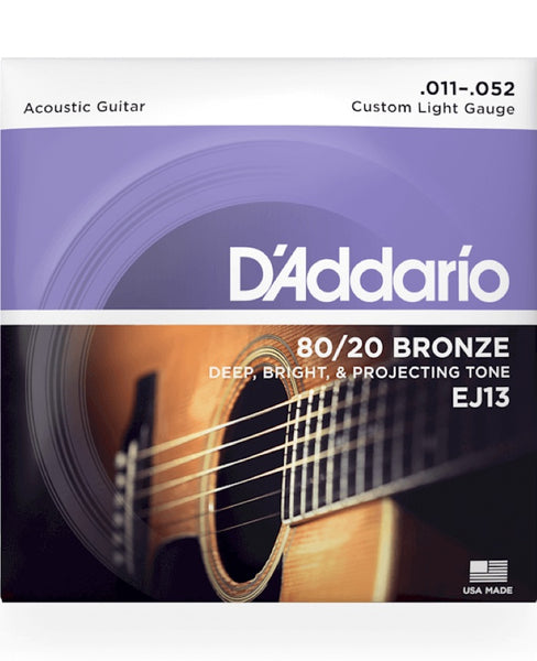 D'Addario 80/20 Bronze Custom Light EJ13 (11-52)