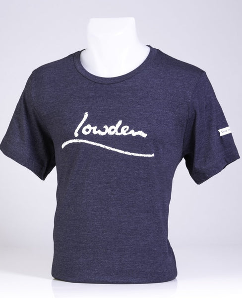 Lowden Distressed Logo T-shirt Unisex - Heather Navy