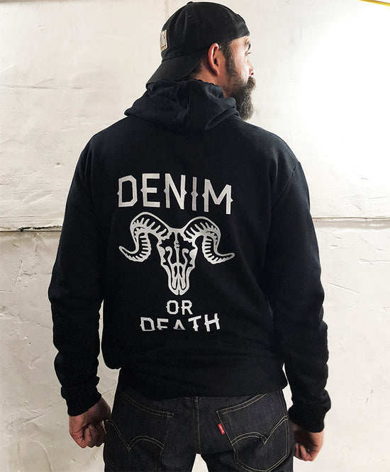CLOBBER-CALM DENIM OR DEATH HOODIE