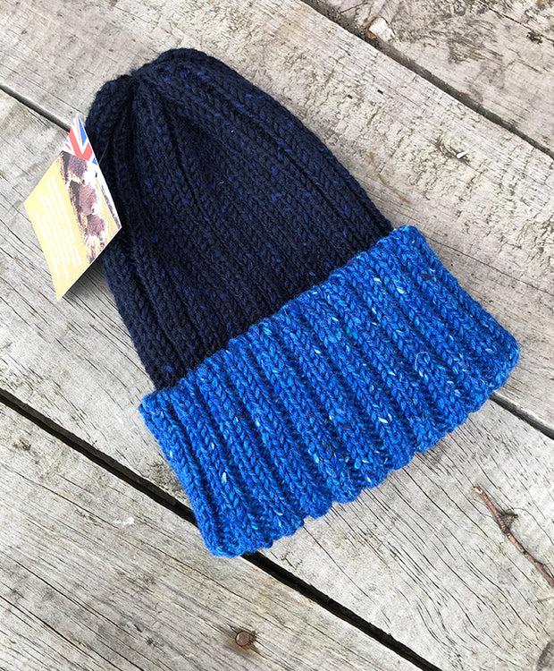 CLOBBER-CALM WOOL BEANIE – TWO TONE BLUE