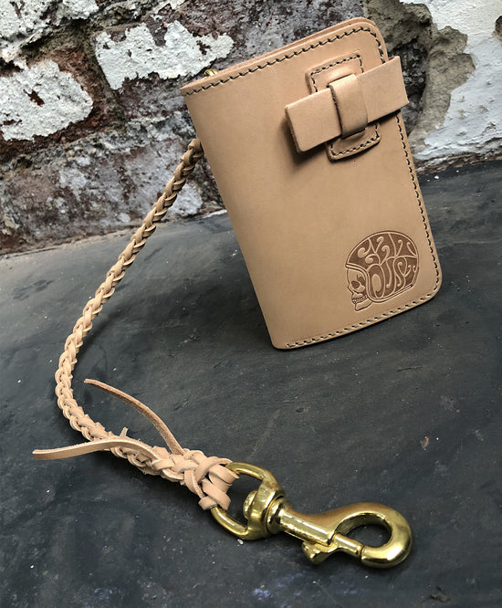 Eat Dust Leather Wallet and Lanyard Natural
