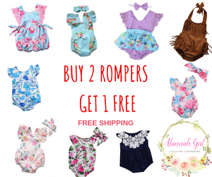 BUY 2 GET 1 FREE ROMPERS OFFER!