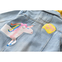 Sofia Unicorn & Rainbow Denim Coat
