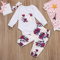 Mia WHITE 3pcs Outfit Sets Newborn-18M - Basket Full Of Goods