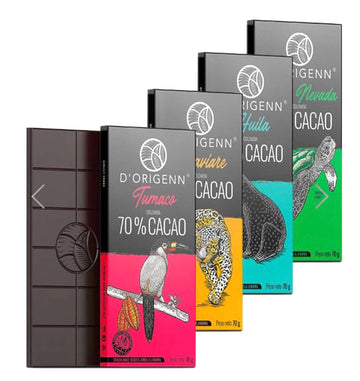 D'origenn 4 dark chocolate bars | 65% -70% cacao | bean to bar 280g