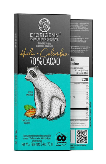 Huila dark chocolate bar | 70% cacao | bean to bar