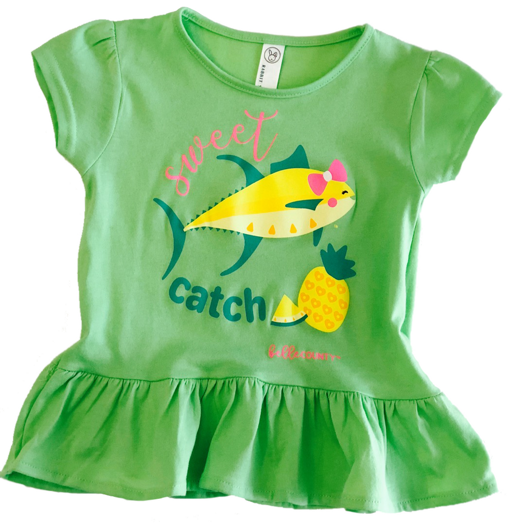 Sweet Catch Fishing Shirt For Girls In Key Lime Belle County
