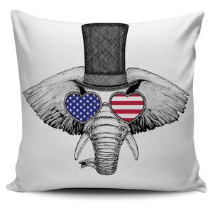 Elephant with USA Glasses Pillow Case | beddingkings