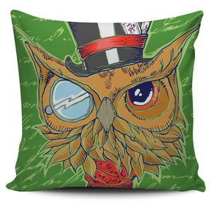 Owl On Green Background Pillow Case | beddingkings