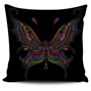 Colourful Buterfly on Black Background Pillow Case | beddingkings