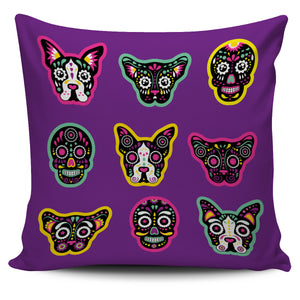 Animal Skulls on Purple Background Pillow Case | beddingkings