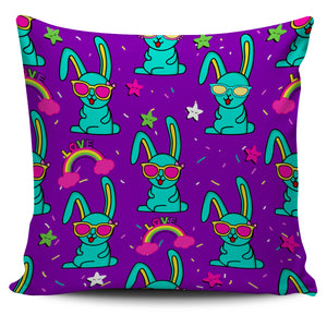 Green Bunny on Purple Background Design Pillow Case | beddingkings