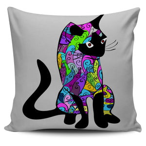 Bright Colours Cat on Greyish Background Pillow Case | beddingkings