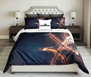 Abstract Basketball on Dark Background Design Bedding Set | beddingkings