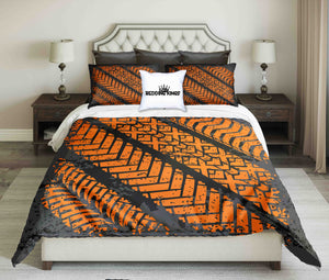 Motocycle Orange Tyres Print On Black Background Bedding Set | beddingkings