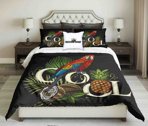 Embroidered Pattern Parrot Design Bedding Set | beddingkings