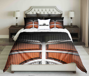 Orange-Black -Silver Basketball Design Bedding Set | beddingkings