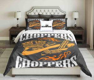 Orange Yellow  On Black Background Choppers Design Bedding Set | beddingkings
