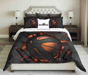 Black-Orange Basketball On Black Cracked Wall Background Design Bedding Set | beddingkings