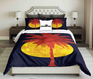 Red Palm And Full Moon on  Black Night Background Bedding Set | beddingkings