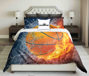 Orange Basketball On Fire-Water Design Bedding Set | beddingkings