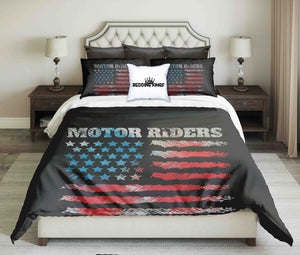 USA Flag Motor Riders Design Bedding Set | beddingkings
