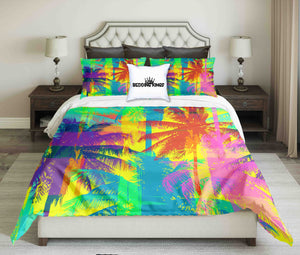Pink And Purple Palm Trees In Crazy Colour Design Bedding Set | beddingkings