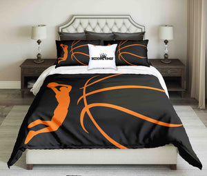 Abstract Orange Basketball Player on Black Background Design Bedding Set | beddingkings