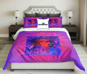 Tropical Sunset On Palm Beach Design Bedding Set | beddingkings