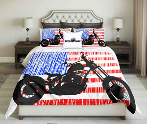 Black Motorcycle On USA Flag Design Bedding Set | beddingkings