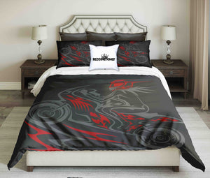 Abstract Grey Red Biker Design Bedding Set | beddingkings