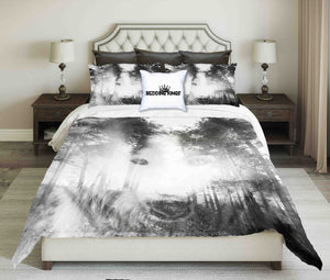 Night Background With Mystical Wolf in Spooky Forest Bedding Set | beddingkings