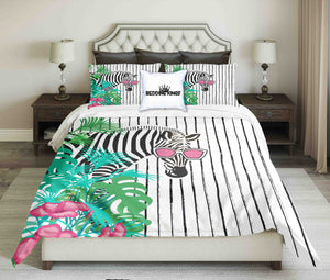 Zebra In Flowers On Striped Background Bedding Set | beddingkings