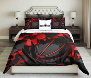 Red-Black Basketball Ball on Cracked Wall Bedding Set | beddingkings