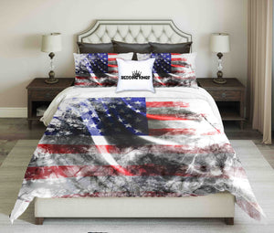 American Flag Background With Grunge Touch Design Bedding Set | beddingkings