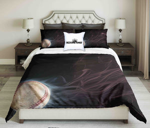 Spinning Baseball With a Trail Of Smoke Bedding Set | beddingkings