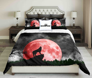 Howling Wolf At Night On Red Moon  Bedding Set | beddingkings